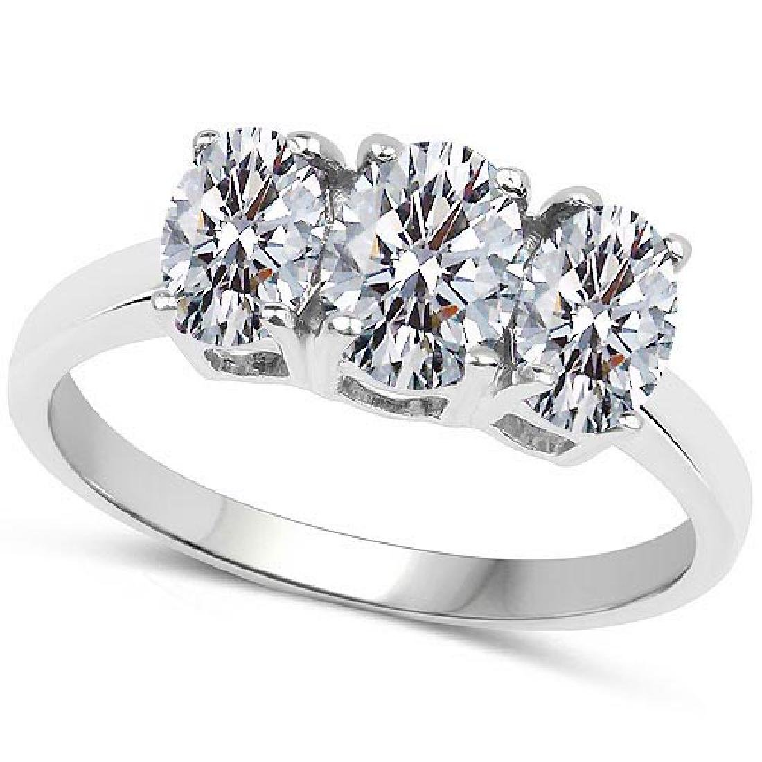 Certified .75 CTW Oval Diamond 14K White Gold Ring