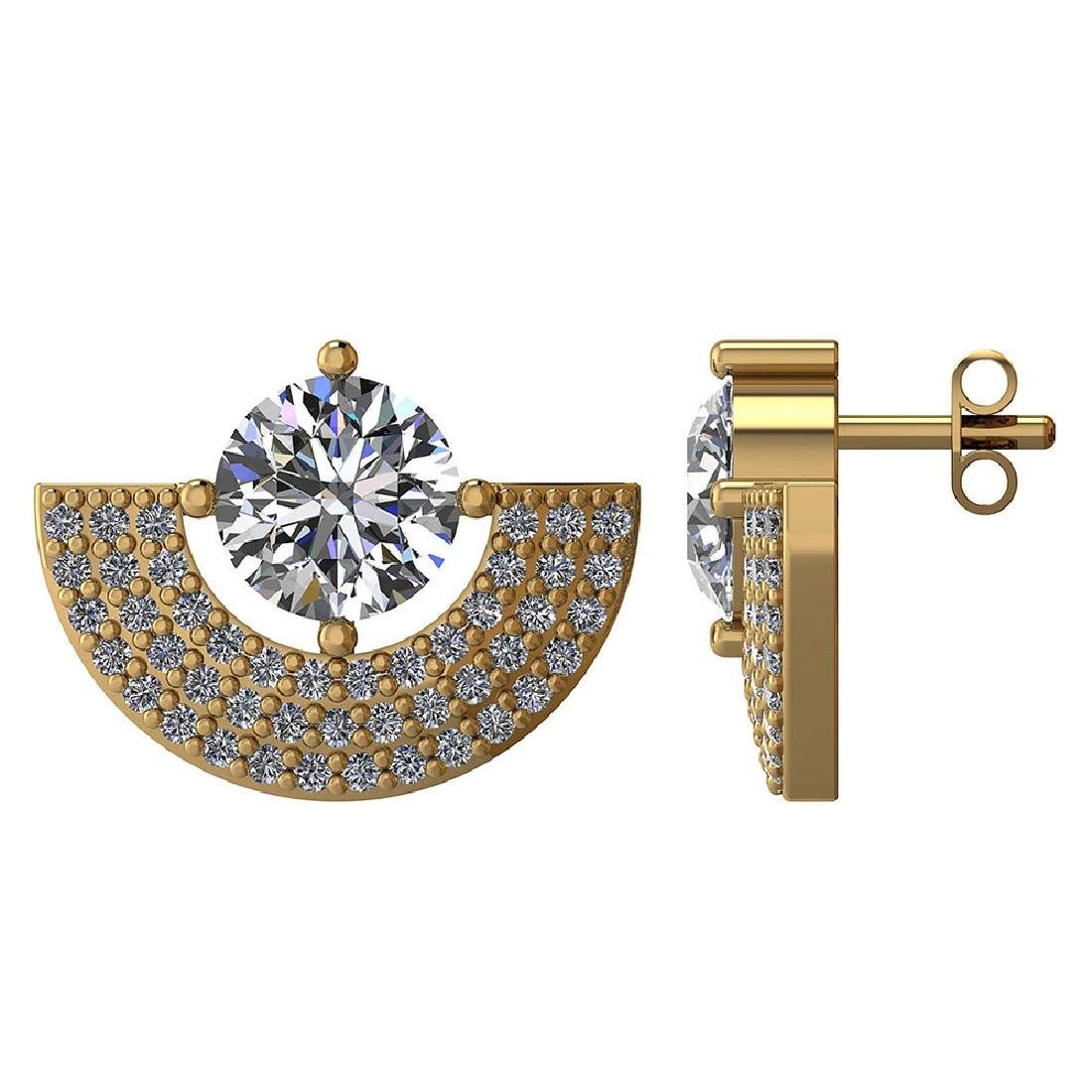 Certified 2.00 CTW Round Diamond 14K Yellow Gold Earrin