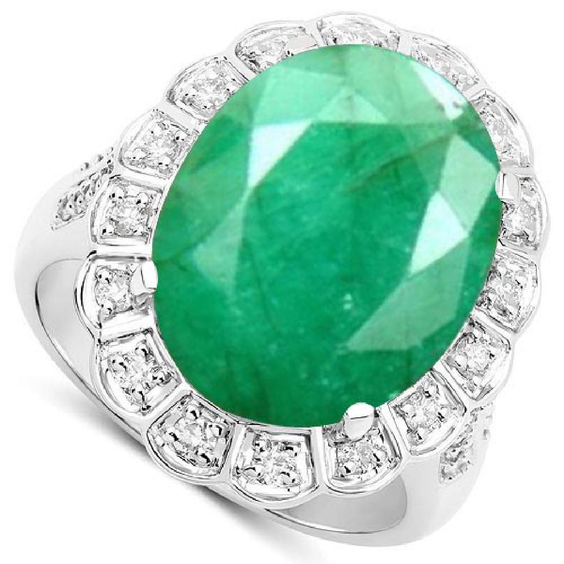 Certified 2.50 Ctw. Genuine Emerald And Diamond 14K Whi