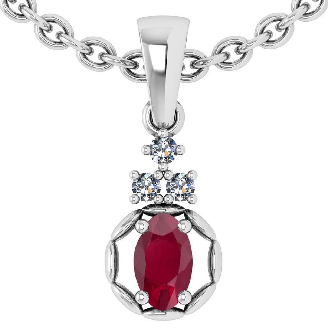 0.25 Ctw Ruby And Diamond 14k White Gold Pendant