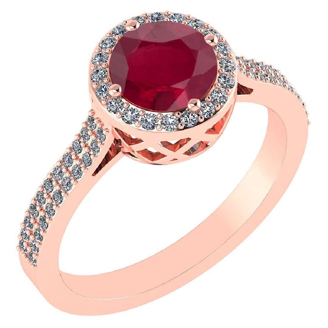 1.77 Ctw Ruby And Diamond 14k Rose Gold Halo Ring