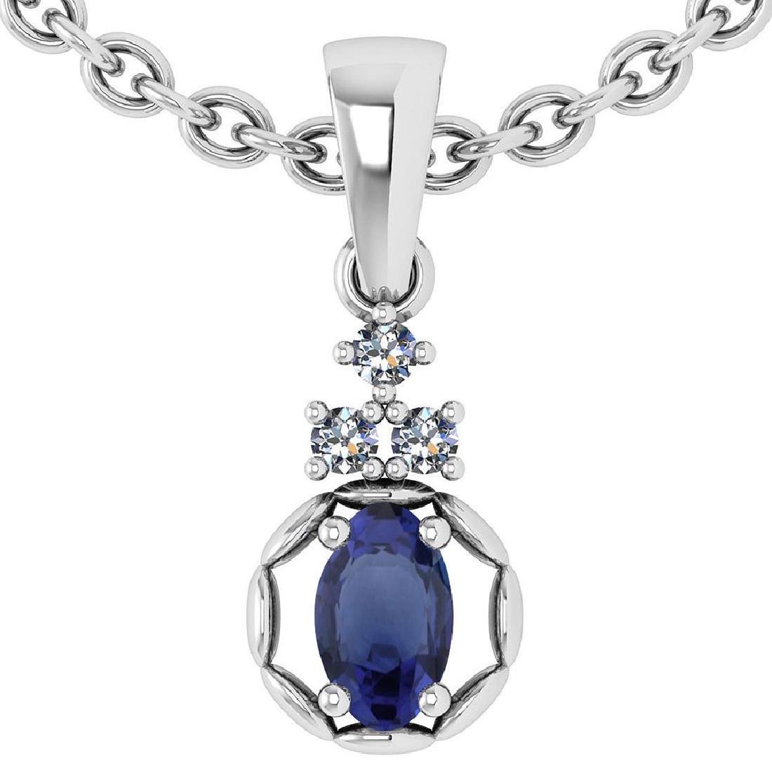 0.25 Ctw Blue Sapphire And Diamond 14k White Gold Penda