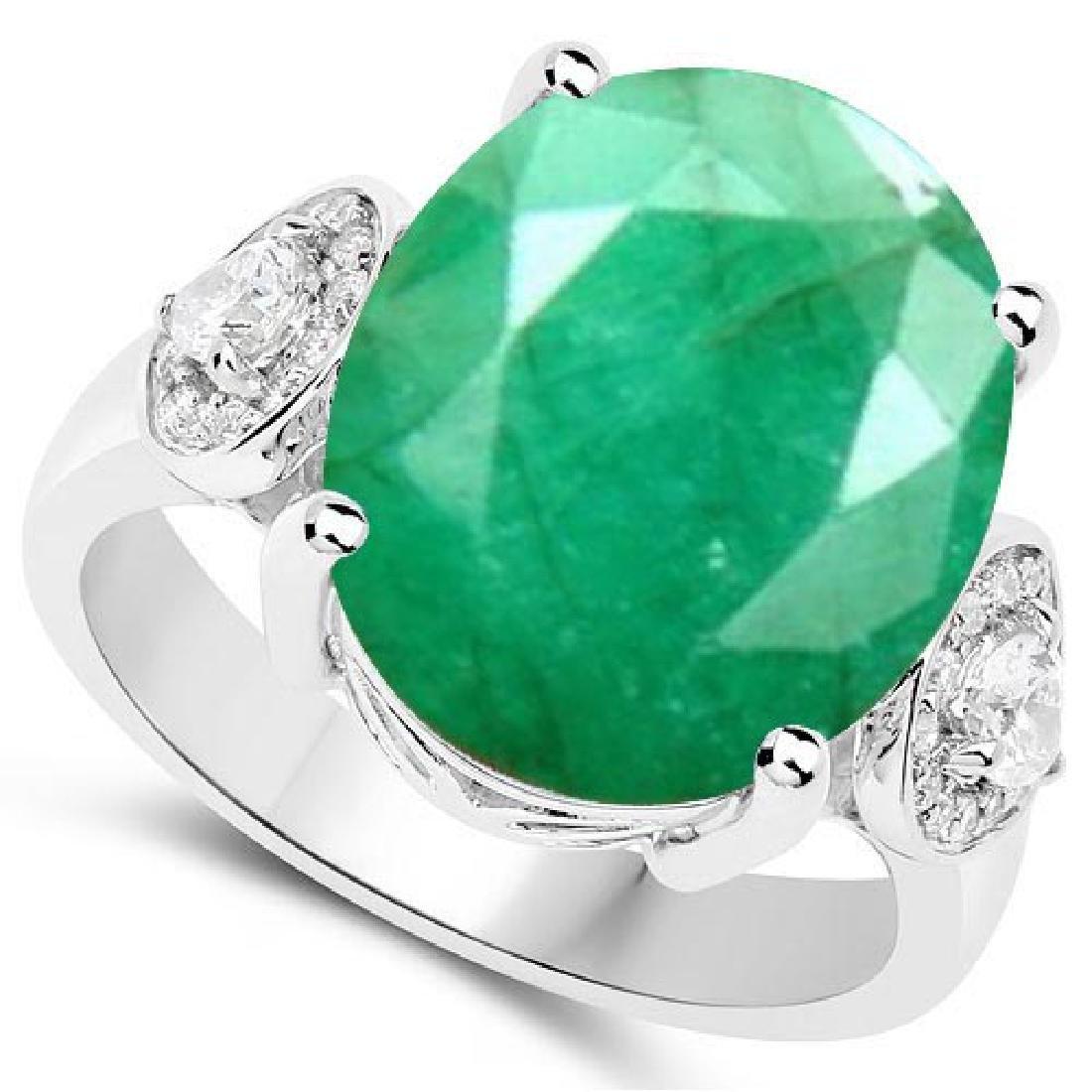Certified 1.40 Ctw. Genuine Emerald And Diamond 14K Whi