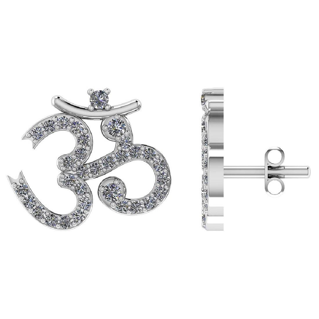 Certified .40 CTW Round Diamond 14K White Gold Earring