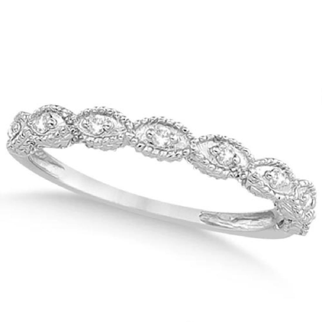 Antique Marquise Shape Diamond Wedding Ring 14k White G