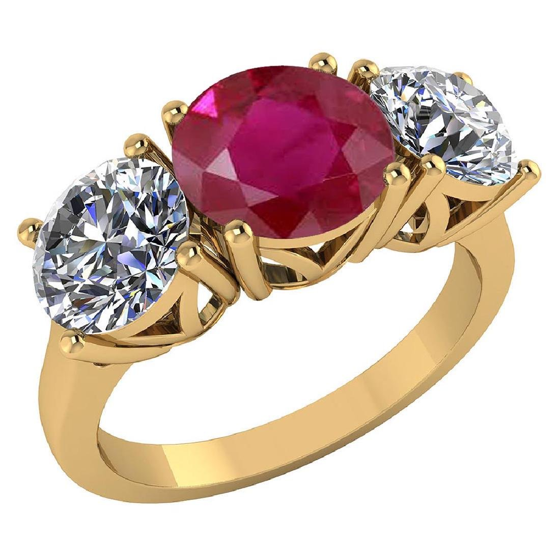Certified 1.60 CTW Genuine Ruby And Diamond 14K Yellow