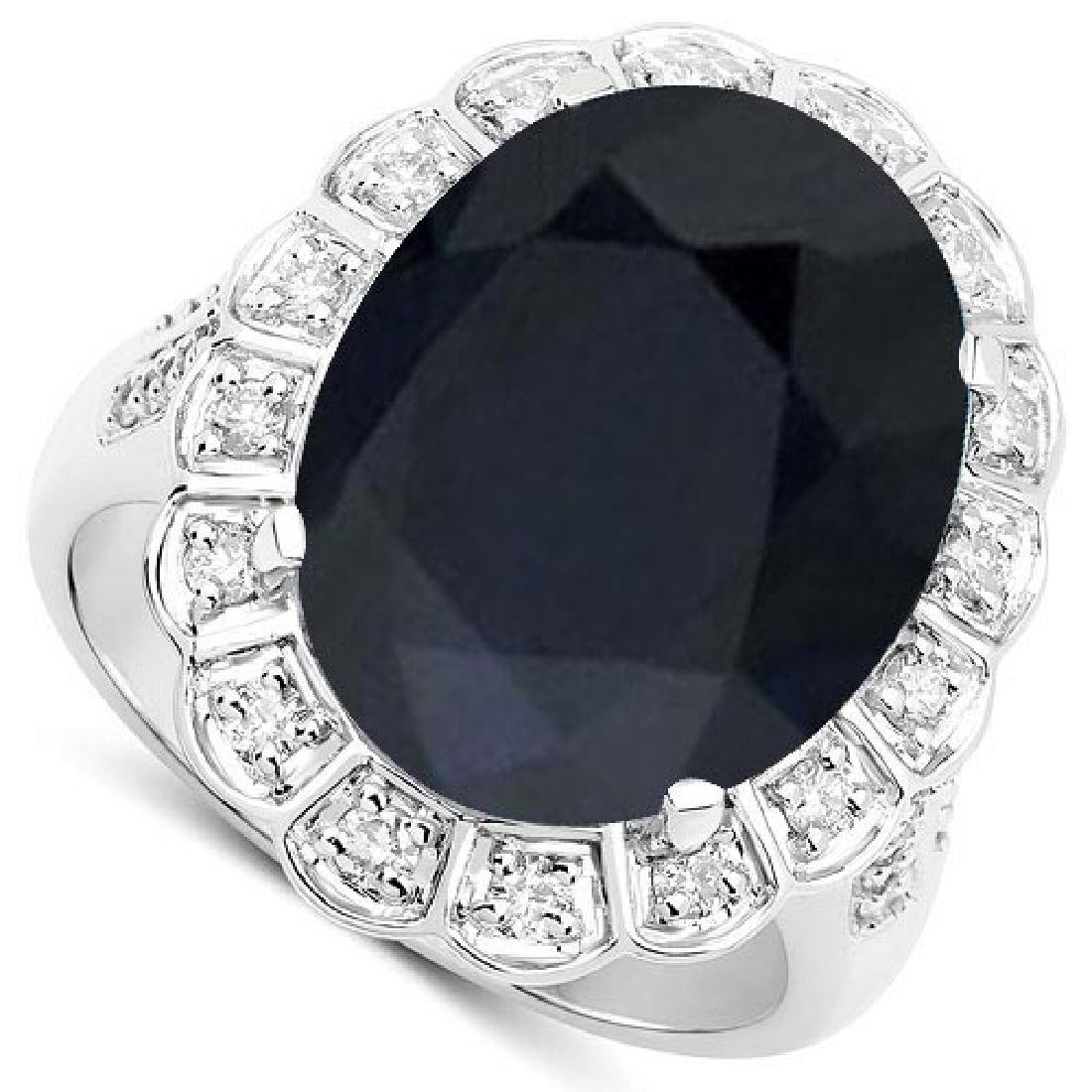 Certified 2.60 Ctw. Black Sapphire And Diamond 14K Whit