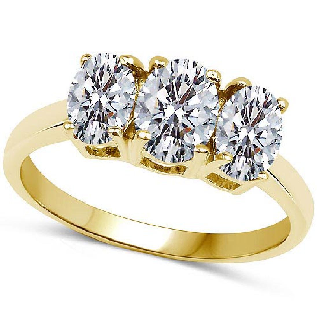 Certified .75 CTW Oval Diamond 14K Yellow Gold Ring
