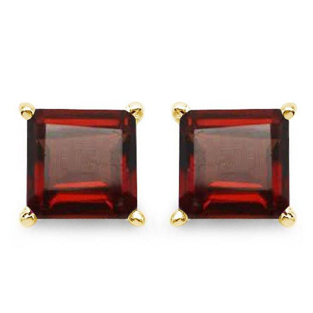 Certified 2.50 CTW Genuine Garnet And 14K Yellow Gold E