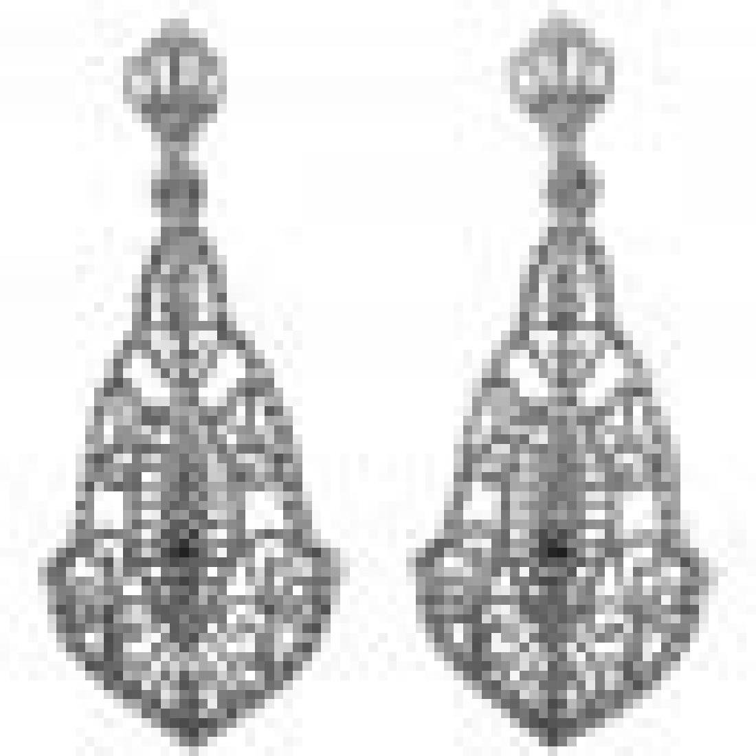 Sapphire Art Deco Style Filigree Drop Earrings - Sterli