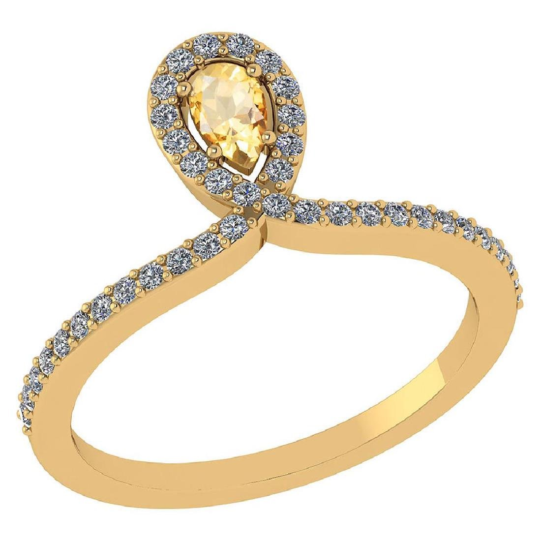 Certified 0.57 Ctw Citrine And Diamond 14k Yellow Gold
