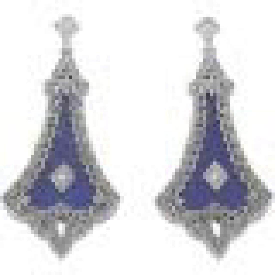 Lovely Art Deco Style Blue Lapis Lazuli Filigree Drop E