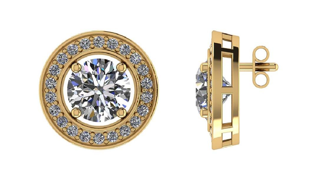 Certified 1.40 CTW Round Diamond 14K Yellow Gold Earrin