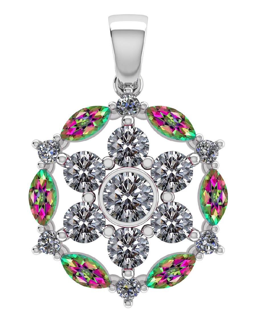 Certified 1.30CTW Genuine Mystic Topaz And Diamond 14K