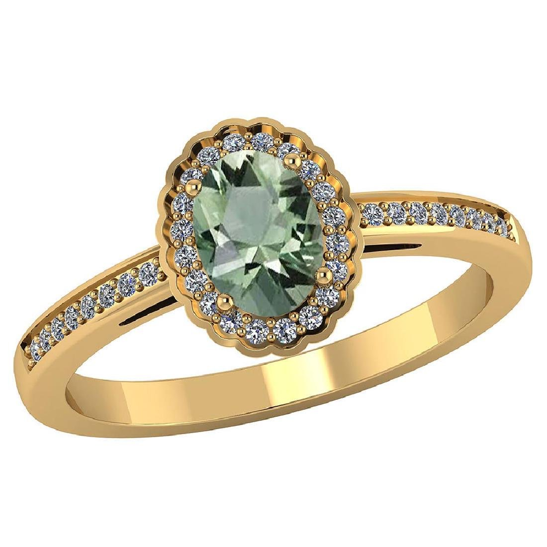 Certified 1.40 CTW Genuine Green Amethyst And Diamond 1