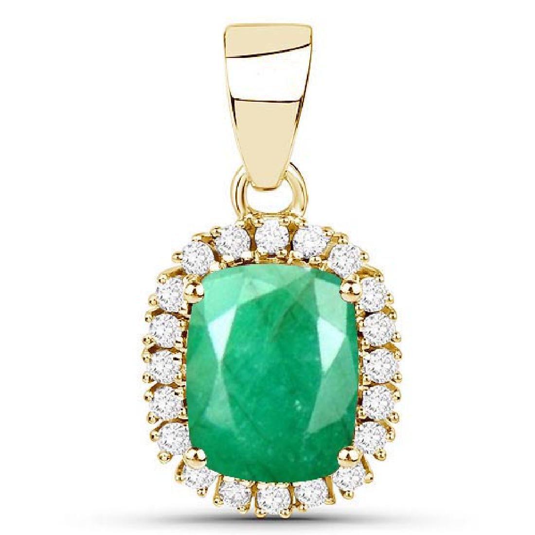 Certified 1.70 CTW Genuine Emerald And Diamond 14K Yell