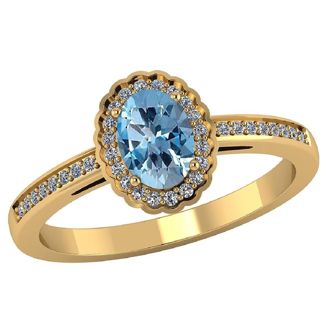 Certified 1.60 CTW Genuine Aquamarine And Diamond 14K Y