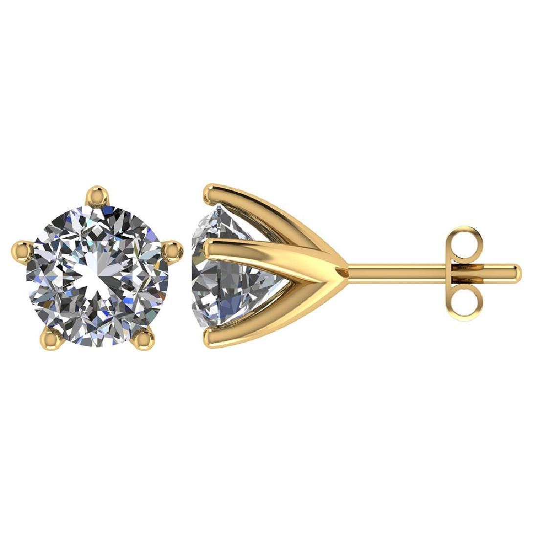 Certified 1.50 CTW Round Diamond 14K Yellow Gold Earrin