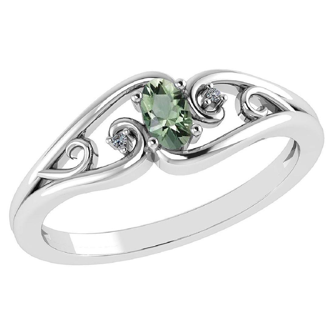 Certified 0.22 Ctw Green Amethyst And Diamond 14k White