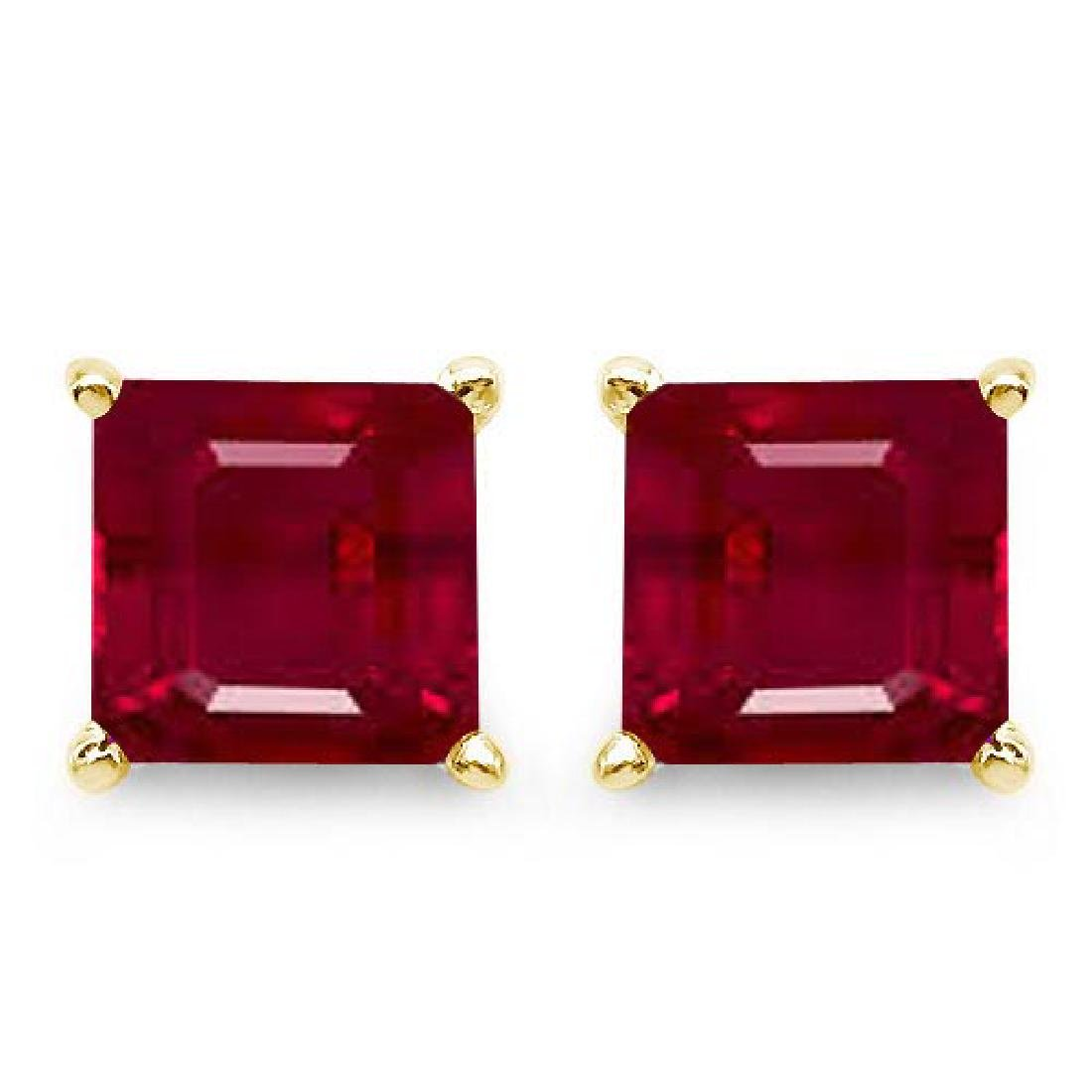 Certified 2.50 CTW Genuine Ruby And 14K Yellow Gold Ear