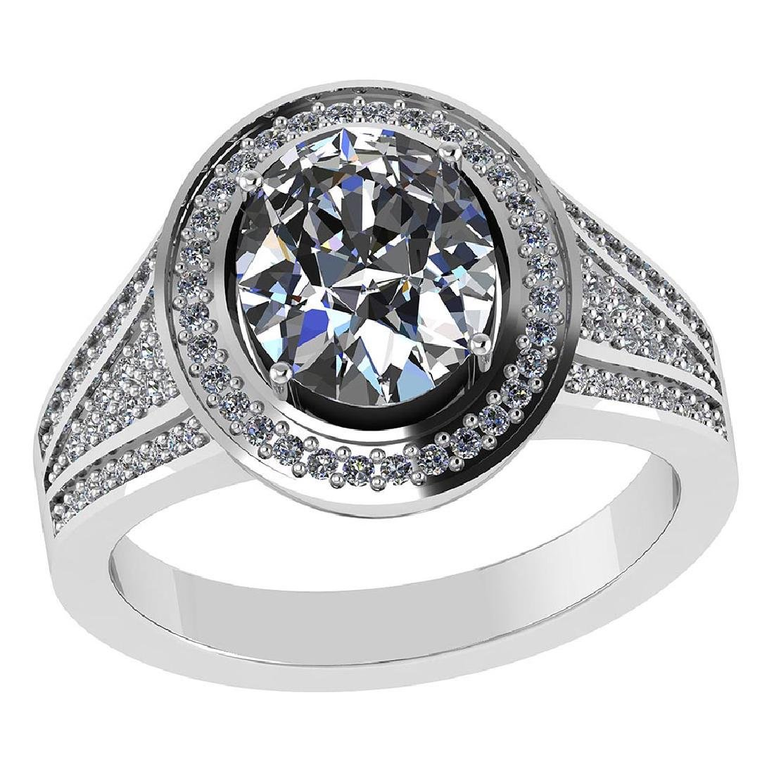 Certified 1.80 CTW Round and Cut Diamond 14K White Gold