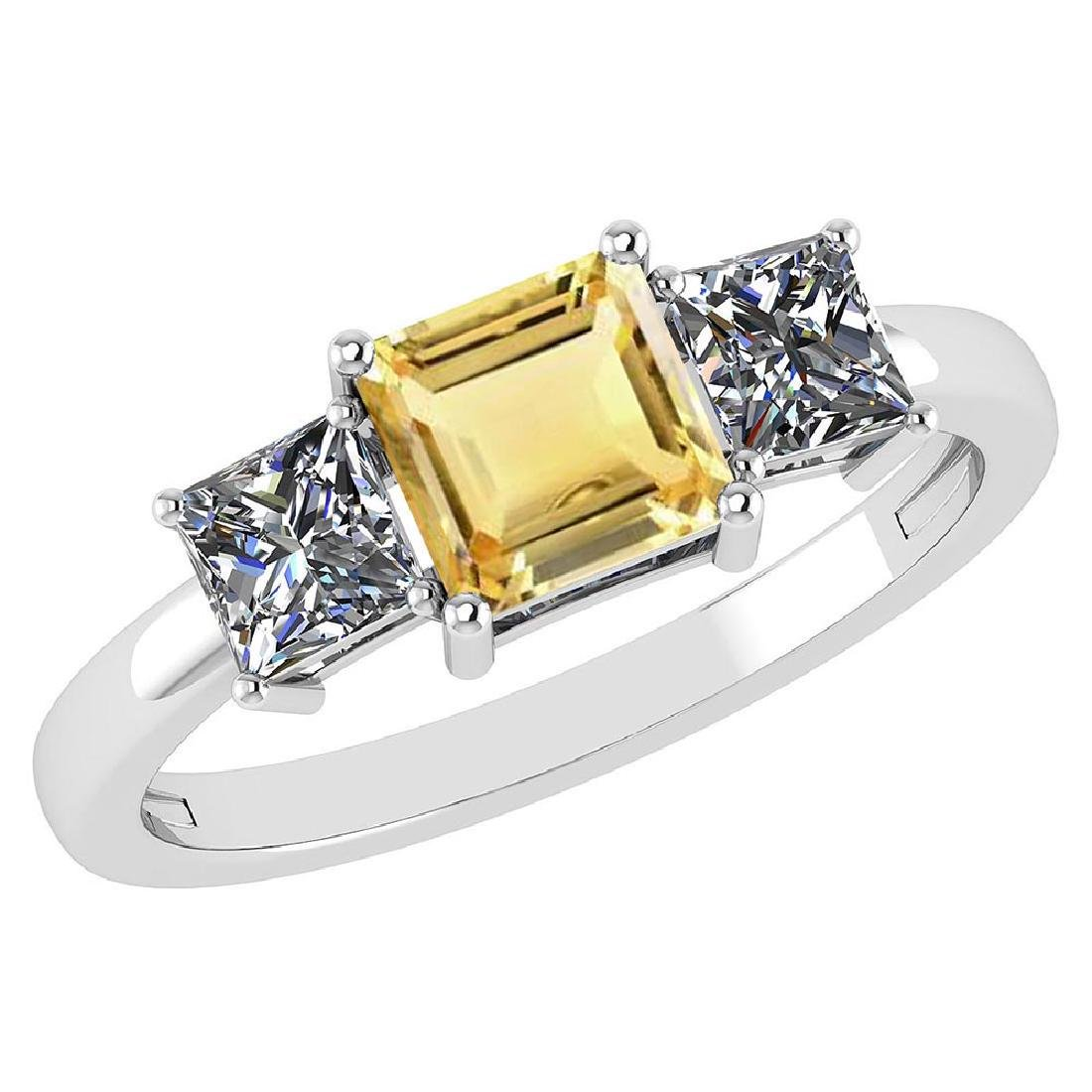Certified 1.26 Ctw Citrine And Diamond 14k White Gold S