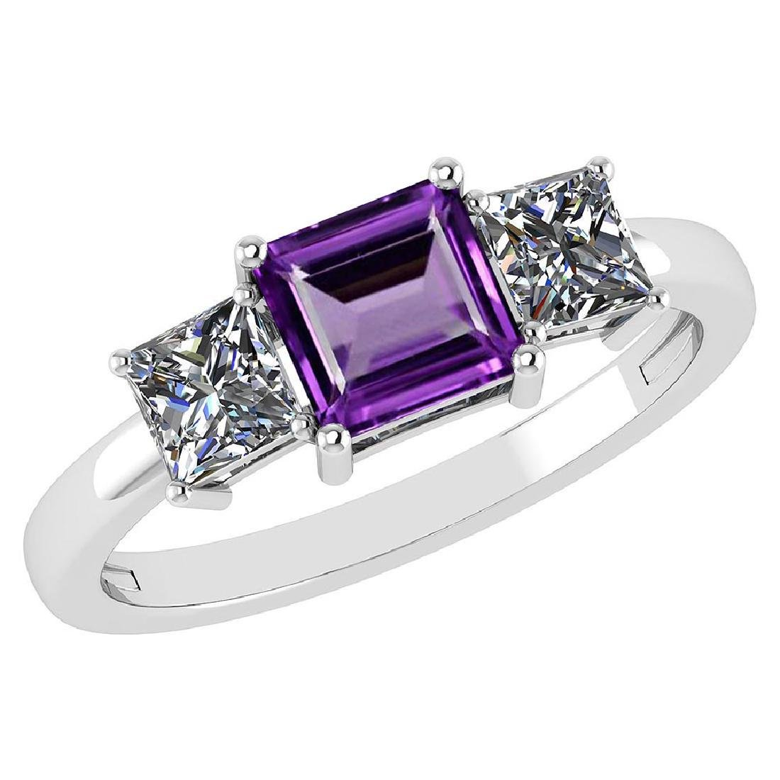 Certified 1.26 Ctw Amethyst And Diamond 14k White Gold