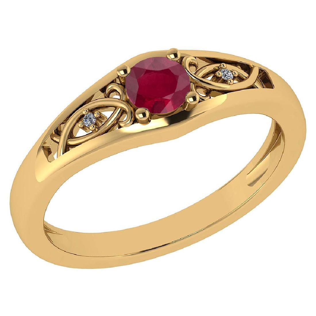 Certified 0.37 Ctw Ruby And Diamond 14k Yellow Gold Hal