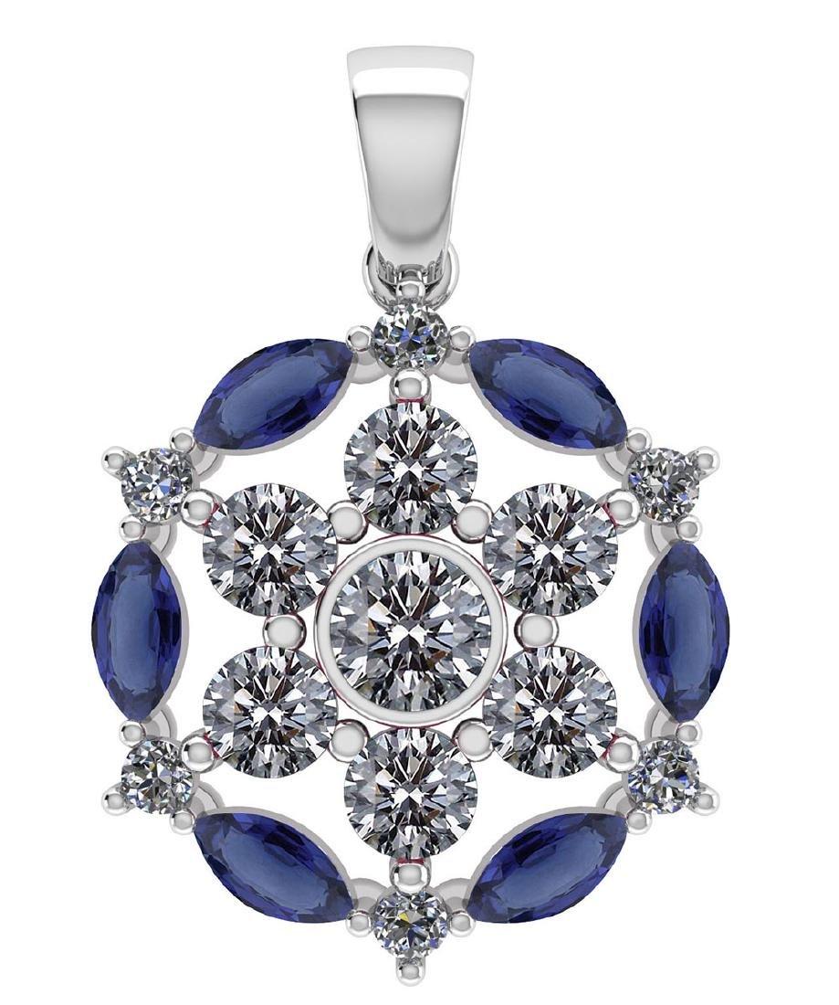 Certified 1.30 CTW Genuine Blue Sapphire And Diamond 14