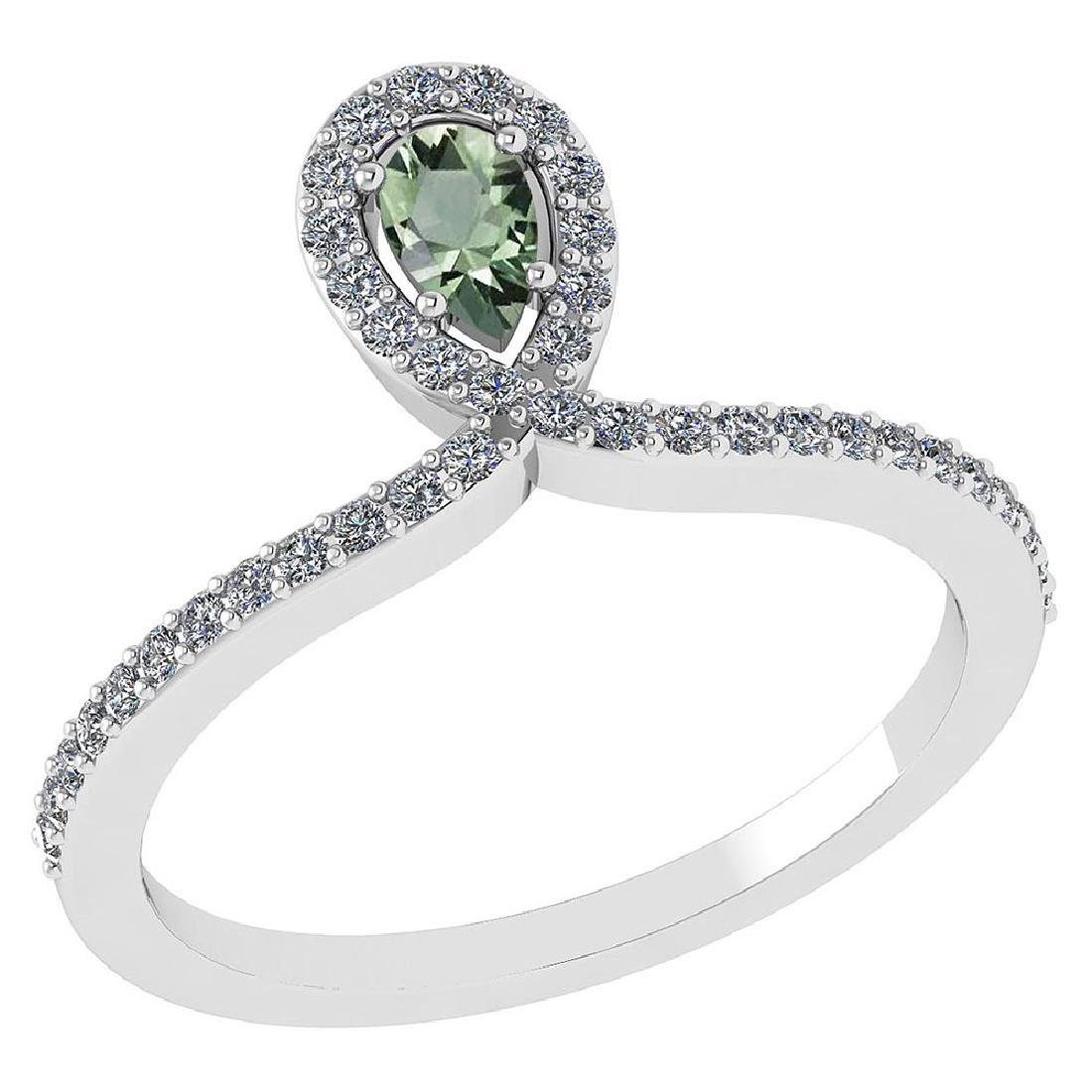 Certified 0.57 Ctw Green Amethyst And Diamond 14k White
