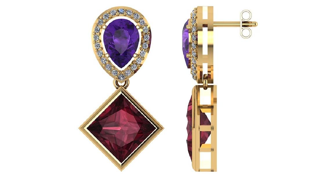 Certified 4.90 CTW Amethyst Garnet And Diamond 14K Yell