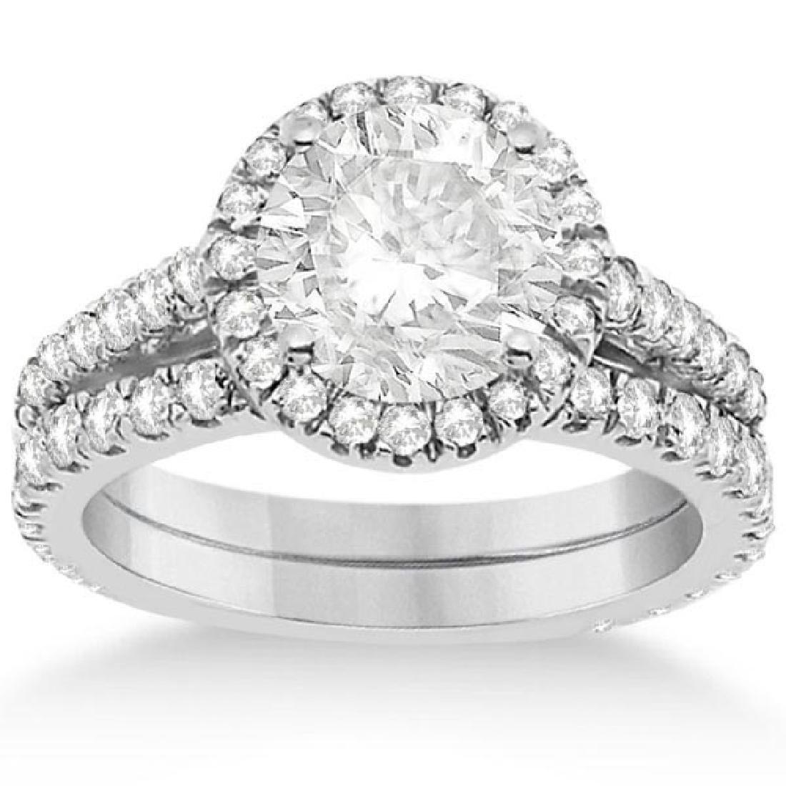 Diamond Bridal Halo Engagement Ring and Wedding Band 14