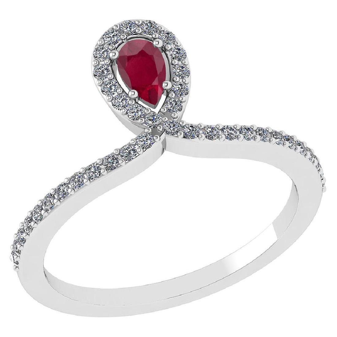Certified 0.57 Ctw Ruby And Diamond 14k White Gold Halo