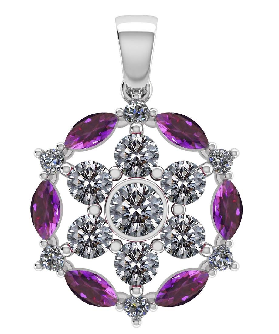 Certified 1.30 CTW Genuine Amethyst And Diamond 14K Whi