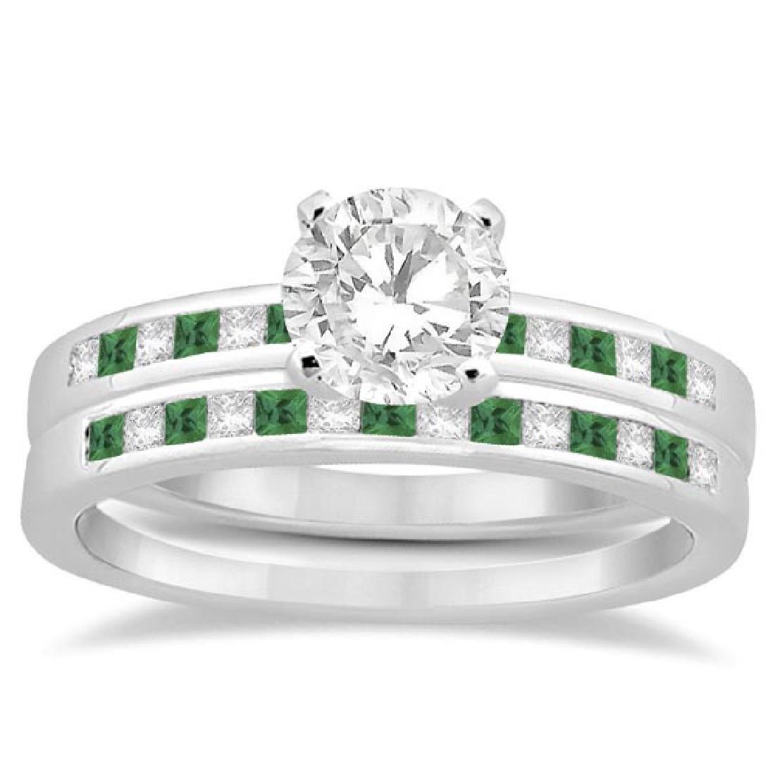 Princess Cut Diamond and Emerald Bridal Set 14k White