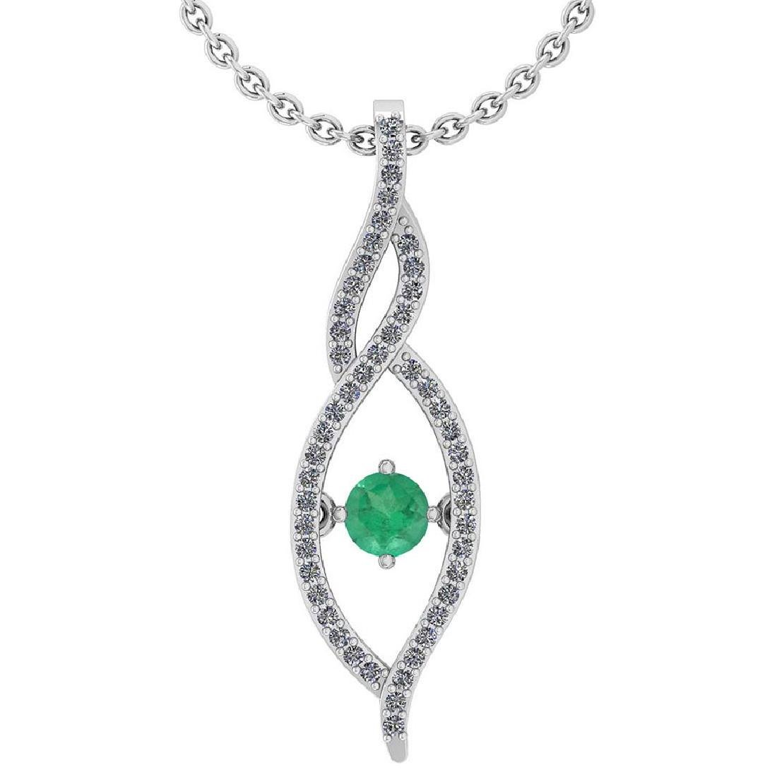Certified 0.47 Ctw Emerald And Diamond 14k White Gold P