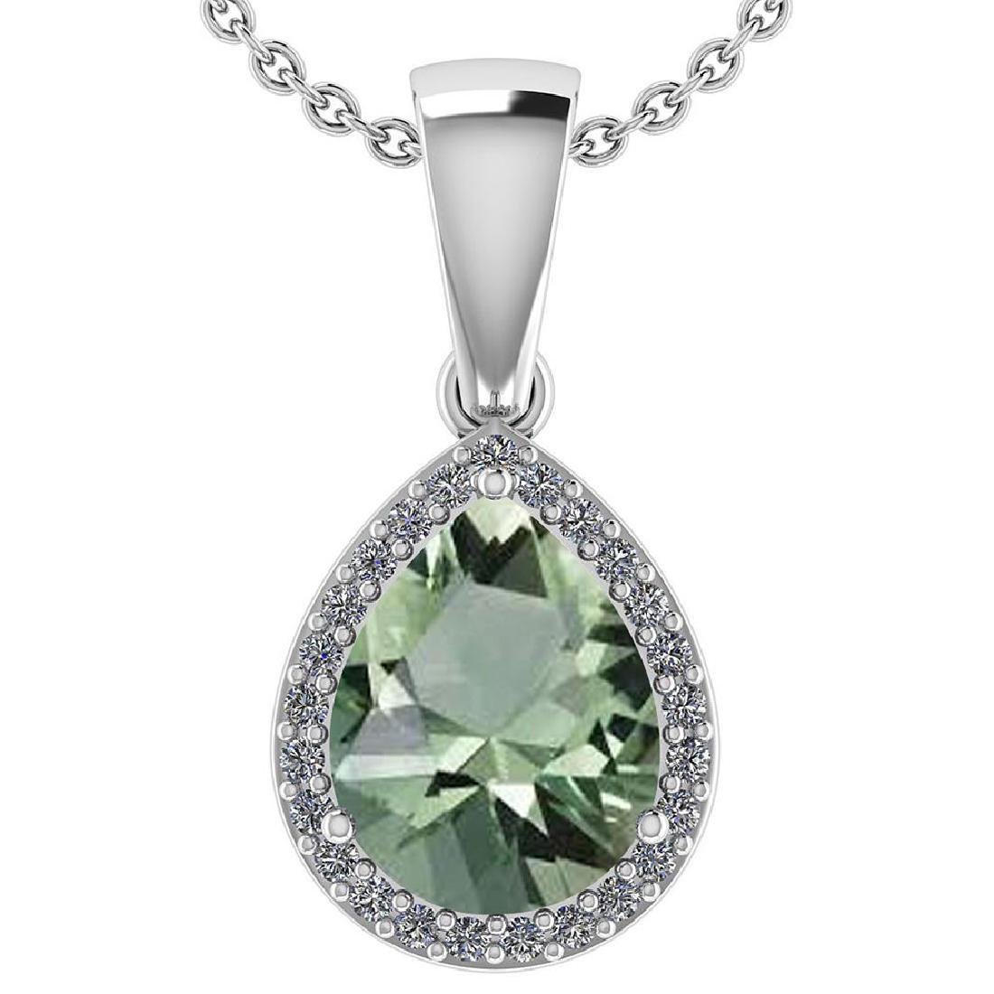 Certified 2.12 Ctw Green Amethyst And Diamond 14k White