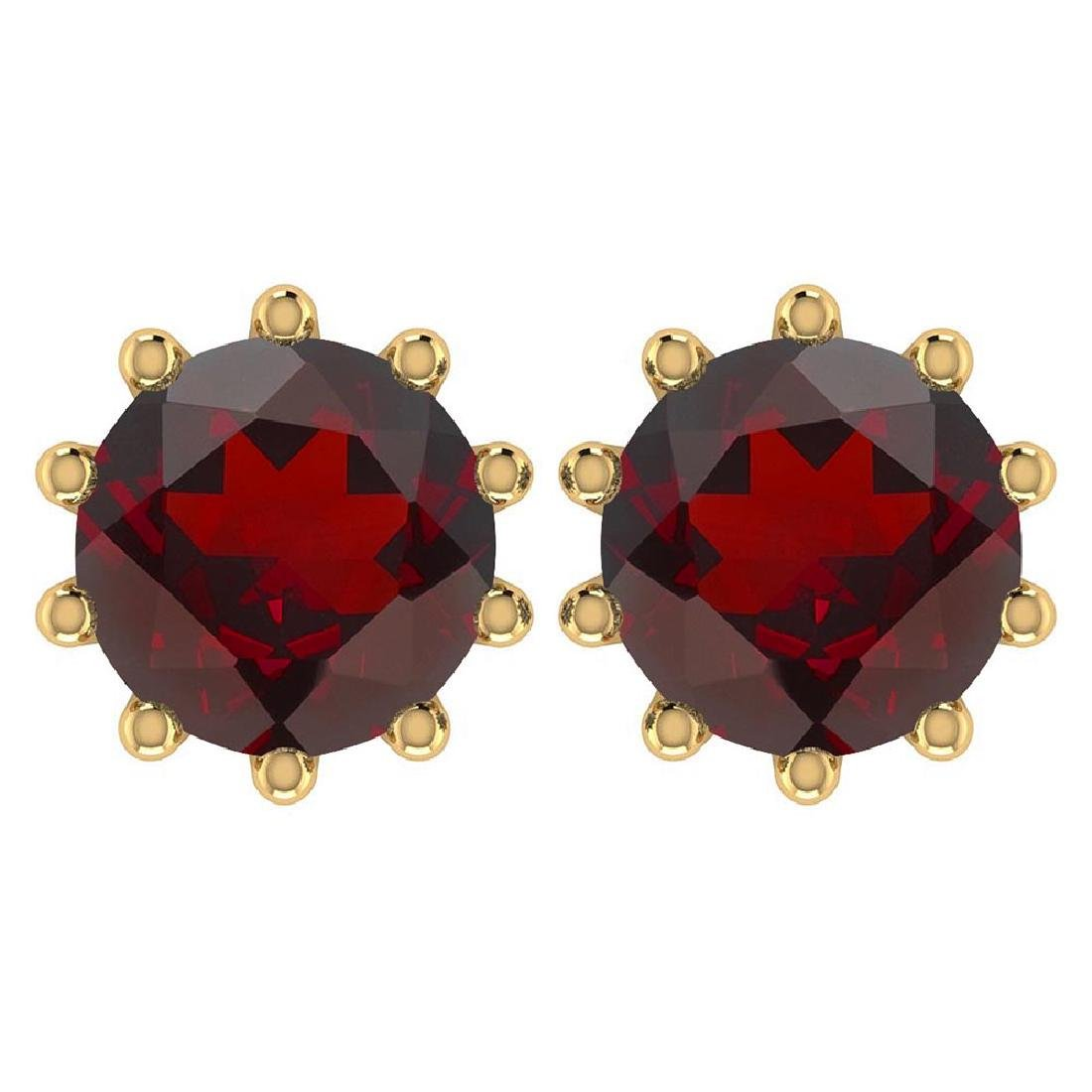 Certitifed 1.60 Ctw Genuine Garnet 14K Yellow Gold Stud