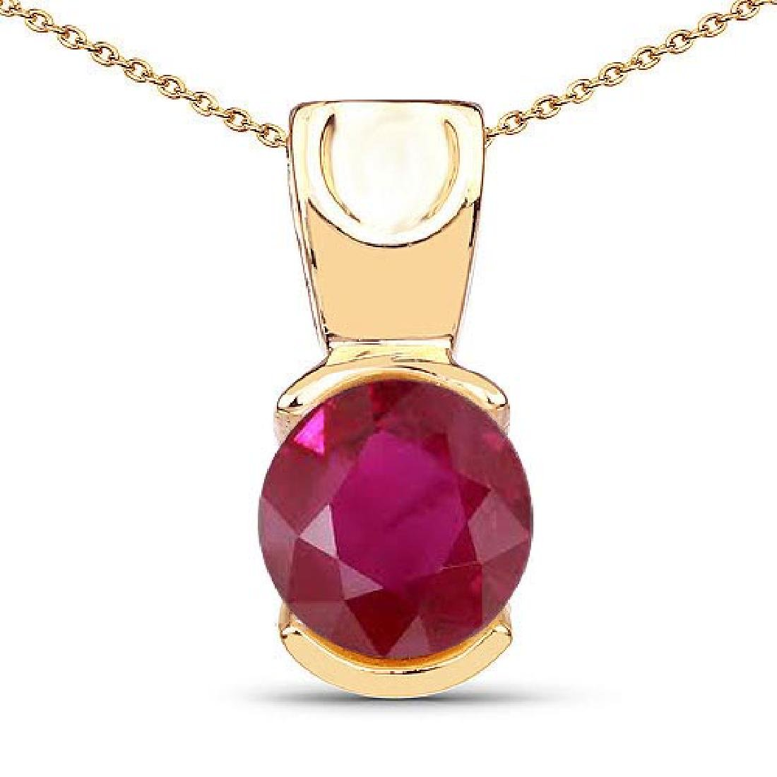 Certified 1.50 CTW Genuine Ruby 14K Yellow Gold Pendant