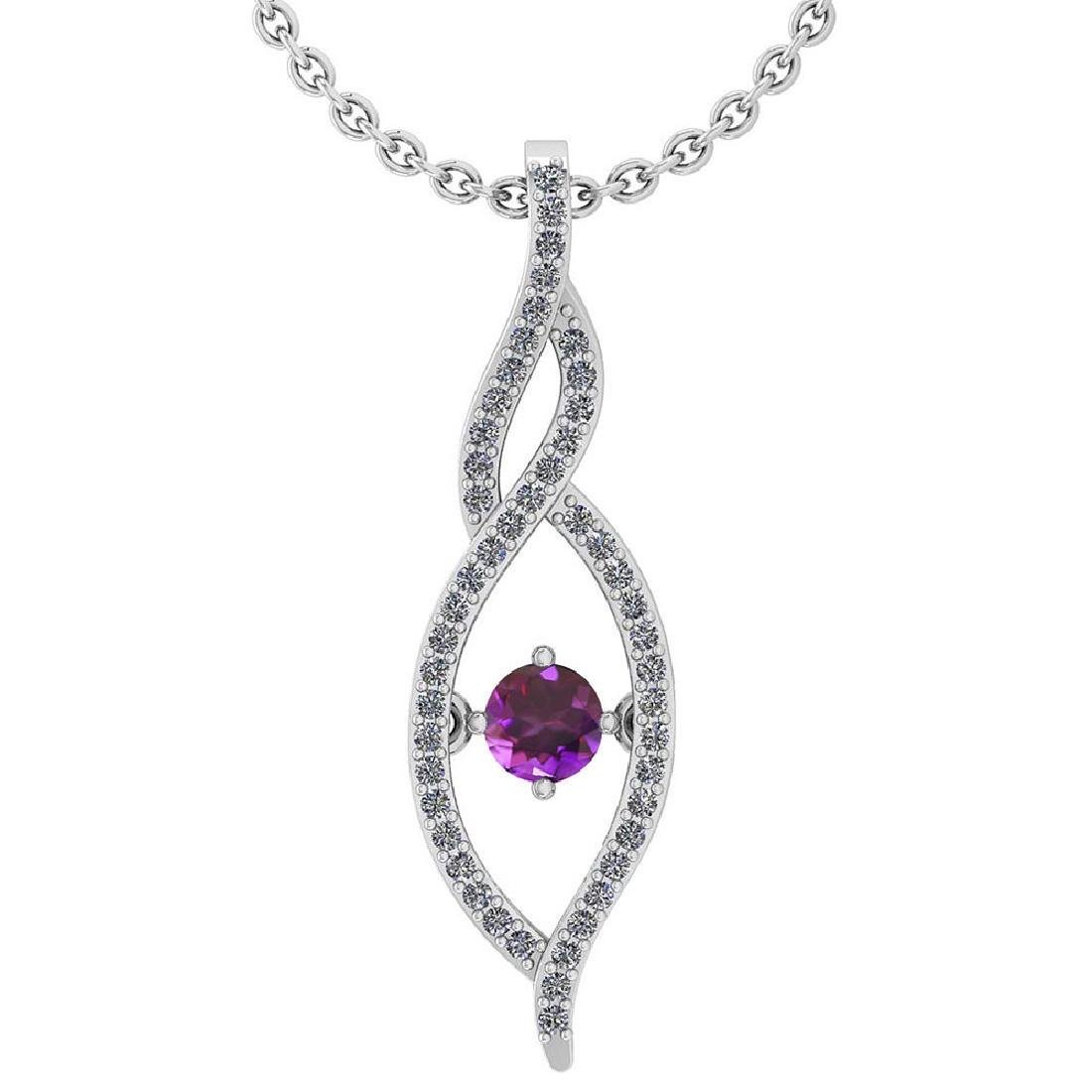 Certified 0.47 Ctw Amethyst And Diamond 14k White Gold