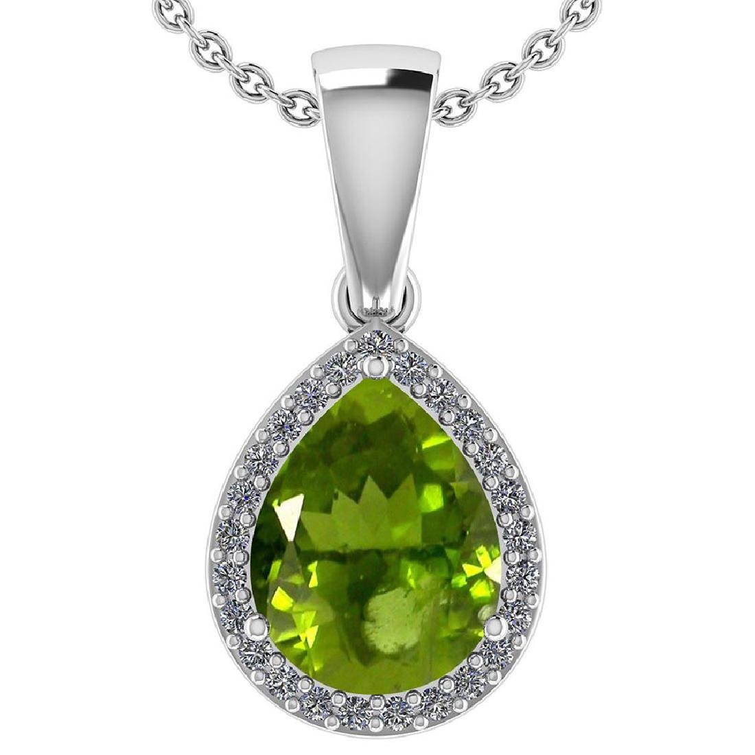 Certified 2.12 Ctw Peridot And Diamond 14k White Gold H