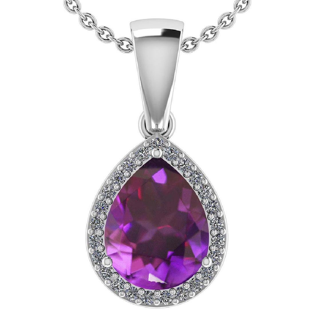 Certified 2.12 Ctw Amethyst And Diamond 14k White Gold