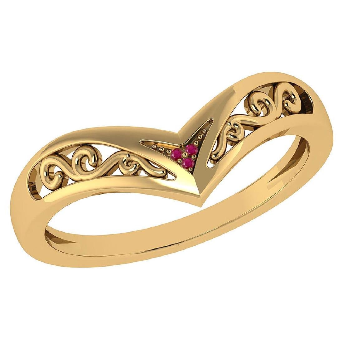 Certified 0.0075 Ctw Genuine Ruby 14K Yellow Gold Simpl
