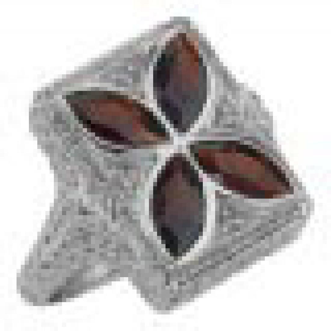 Art Deco Style 4 Stone Garnet Diamond Ring - Sterling S