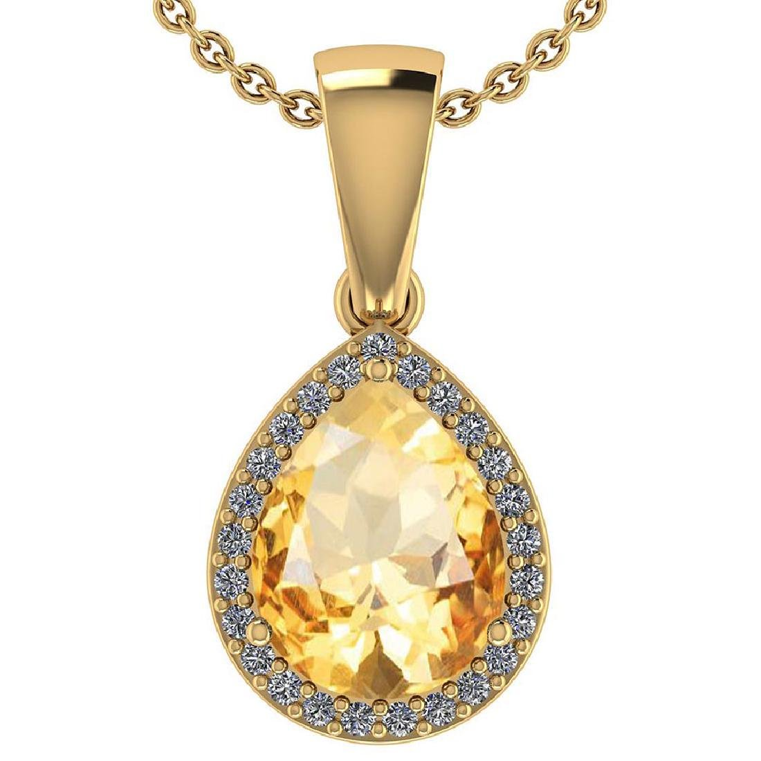 Certified 2.12 Ctw Citrine And Diamond 14k Yellow Gold
