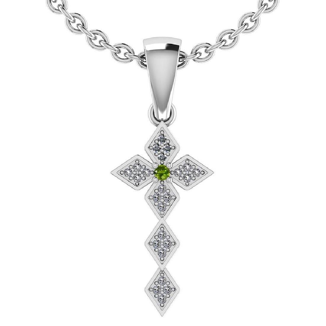 Certified 0.068 Ctw Peridot And Diamond 14k White Gold