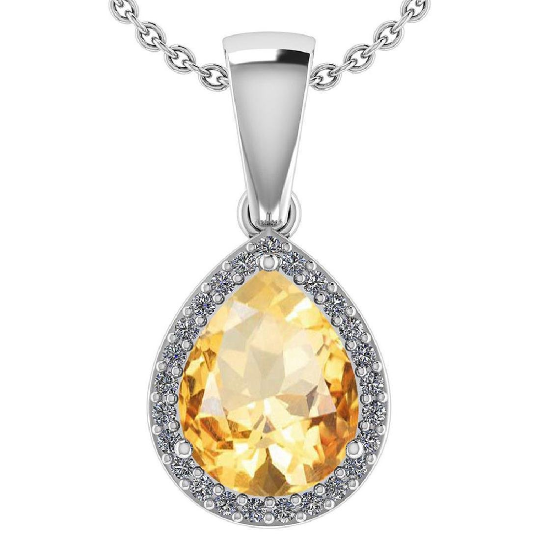 Certified 2.12 Ctw Citrine And Diamond 14k White Gold H