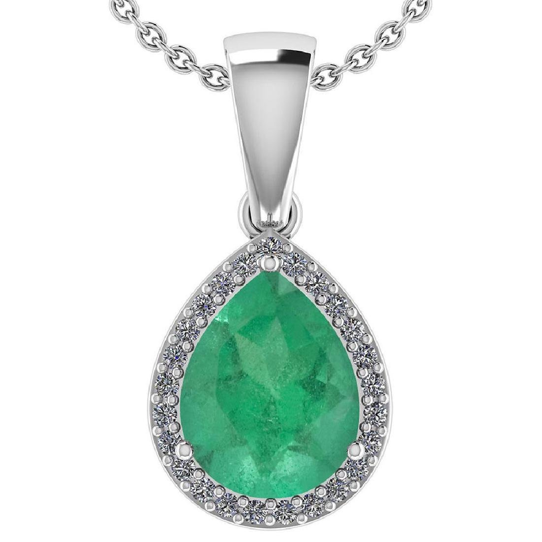 Certified 2.12 Ctw Emerald And Diamond 14k White Gold H