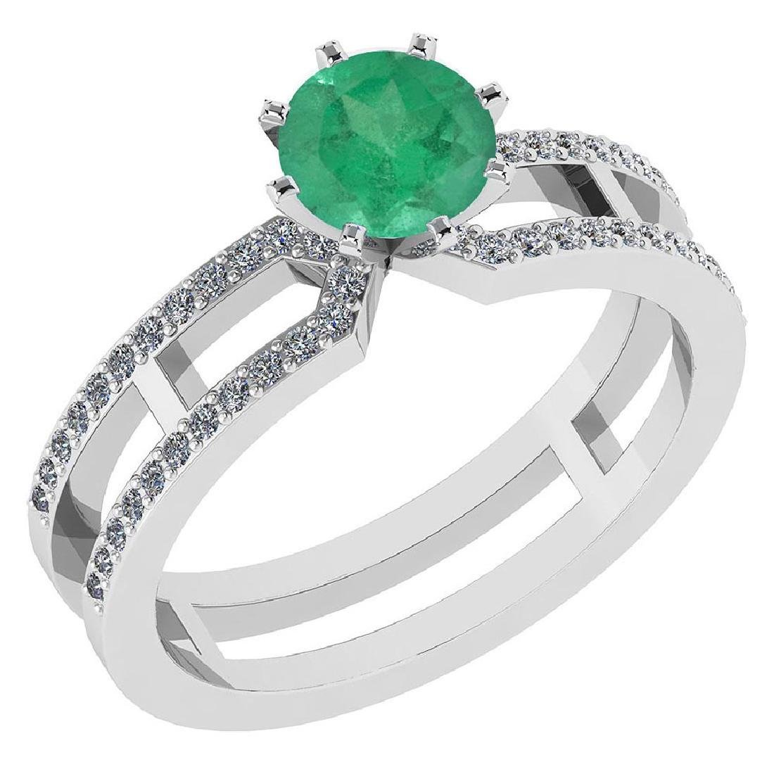 Certified 1.32 Ctw Genuine Emerald And Diamond 14k Whit