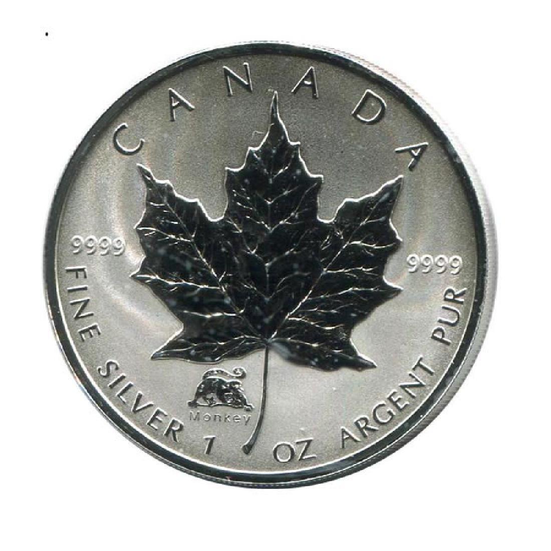 2004 Canada 1 oz. Silver Maple Leaf Reverse Proof Monke